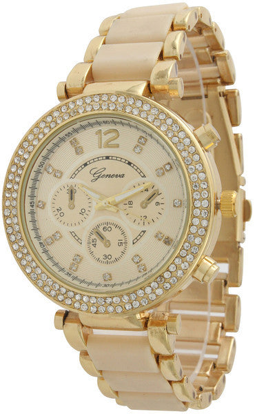 Two Tone Rhinestone Boyfriend Watch