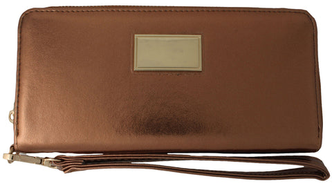Classic Metallic Zip Around Wristlet Wallet