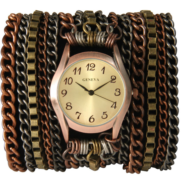 Multi Chain Wrap Watch with Gold Face