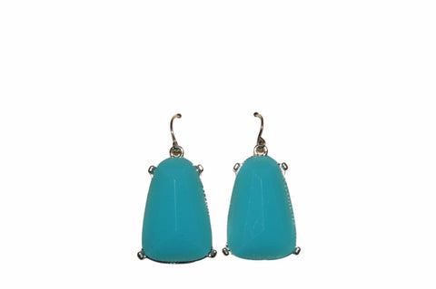 Blue Turquoise Dainty Stone Drop Earrings