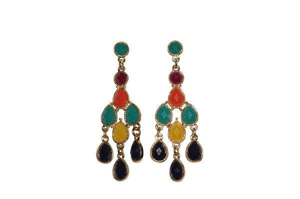 Tier Teardrop Multi Colored Earrings