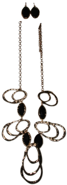 Designer Inspired Black and Gold Casting Stone Statement Necklace Set