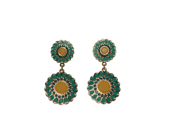Double Flower Mustard and Aqua Drop Earrings