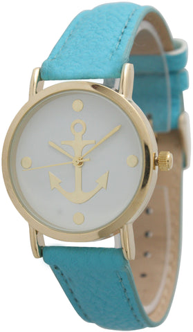 Leather Band Anchor Watch in Small and Large Sizes