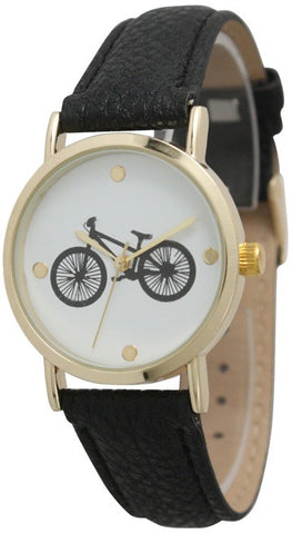 Bicycle Design Watch with Leather Band