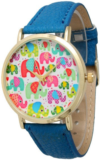 Elephant Multi Print Face Watch with Leather Band