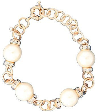 Gold Pearl Bead Bracelet with Rhinestones