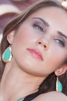 Mint Green Stone and Gold Drop Earrings