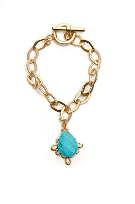Gold Large Link Bracelet With Colorful Stone and Filigree Charm - Additional Colors Available