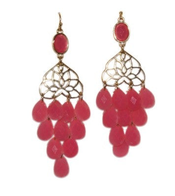 Lotus Droplet Earrings - Pink