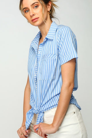 Striped Button Down Tunic