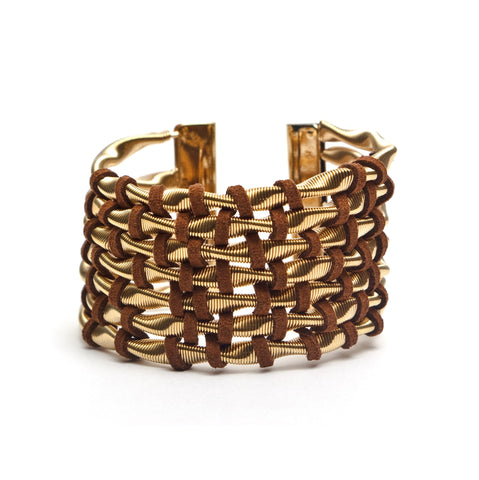 Thick Gold Cuff Bracelet Woven With Brown Suede