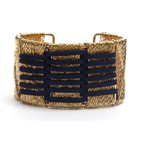 Thick Wide Gold Cuff Bracelet Woven with Lines of Navy Suede