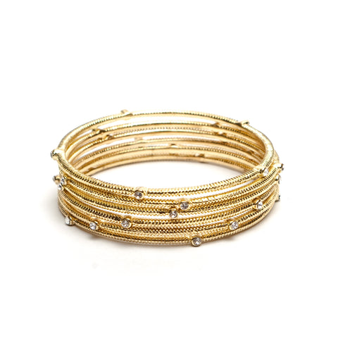 Set of 5 Stacked Gold Bangles with Rhinestones