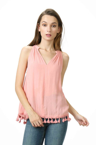 V-Neck Fringe Top