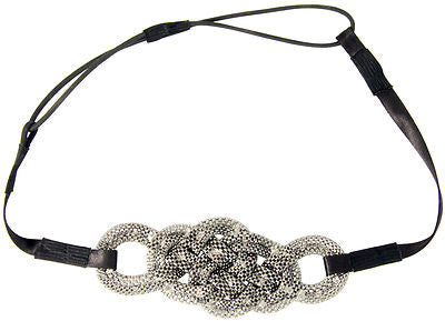 Ultra Mod Stretch Fashion Headband with Braided Pretzel Design - Gunmetal