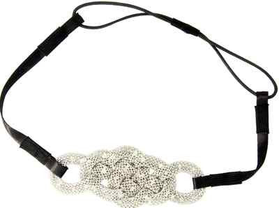 Ultra Mod Stretch Fashion Headband with Braided Pretzel Design - Silver