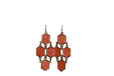 Orange Leather and Gold Chandelier Hanging Earrings