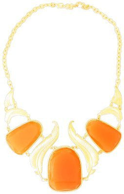 Orange Gold Filigree Statement Necklace