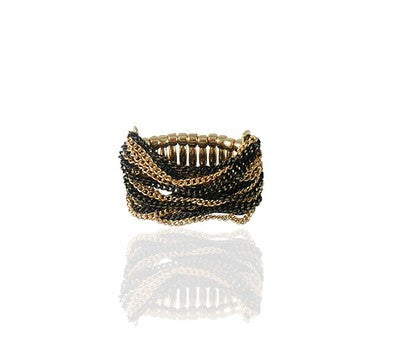Black and Gold Adjustable Chain Ring