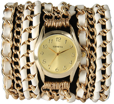 Multi Chain Leather Ribbon Wrap Watch with Gold Face - Additional Colors Available