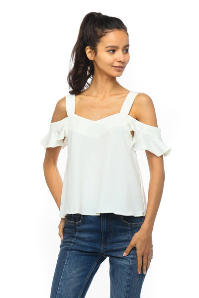 Cold Shoulder V-Neck Ruffle Top