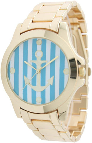 Boyfriend Watch with Striped Anchor Printed Face
