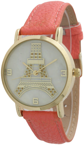 Eiffel Tower Paris Leather Band Watch