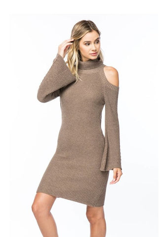 Ribbed Cold Shoulder Sweater Dress