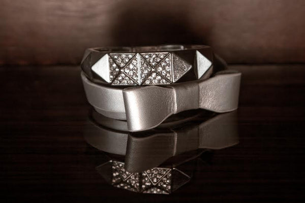Wrap Metallic Silver Bow Bracelet Set