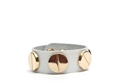 Wide Leather Bracelet with Gold Plated Circle Studs - Additional Colors Available