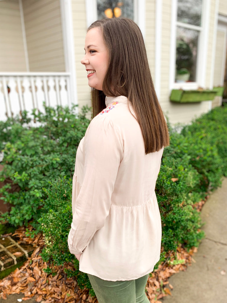 Peplum Top with Embroidery and Buttons: Taupe