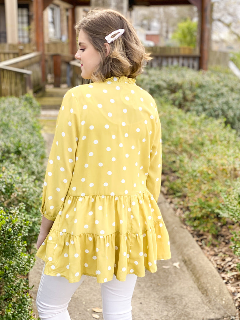 Polka Dot Tiered Button Front Blouse: Dijon