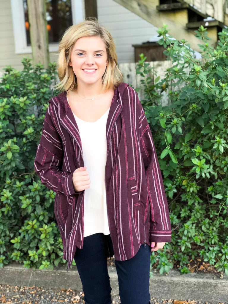 Zip Front Striped Jacket: Burgundy