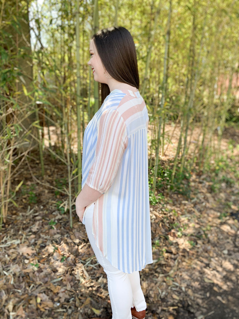 Striped Button Up Knot Top: Blue
