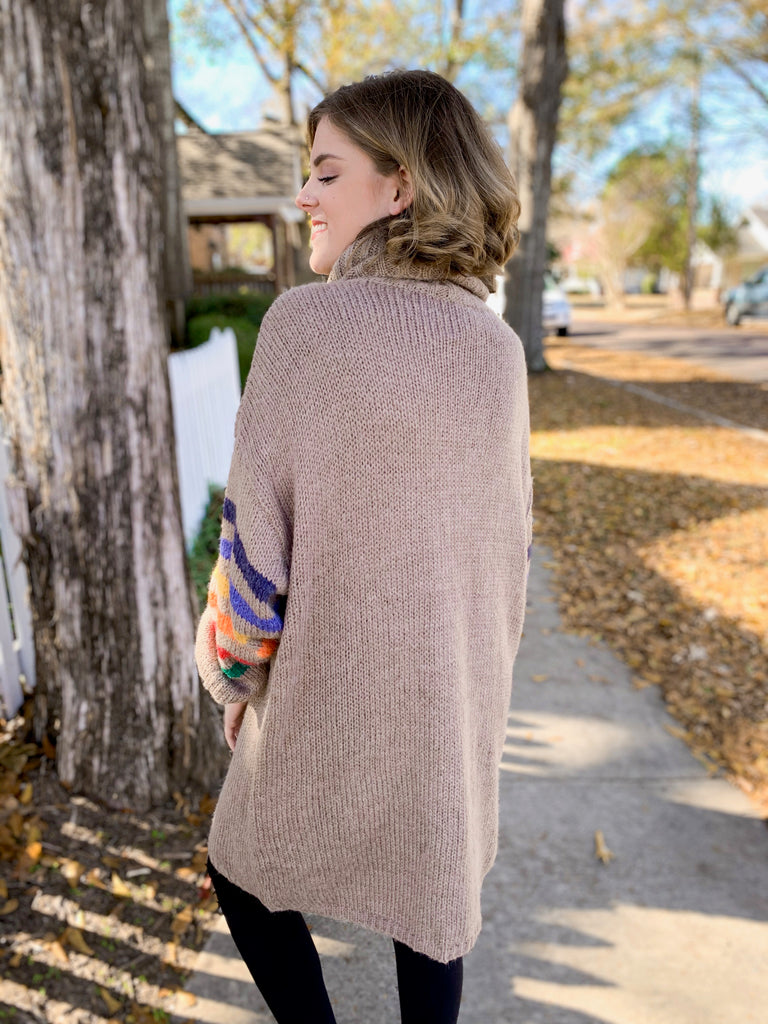 Rainbow Mock Neck Sweater Tunic