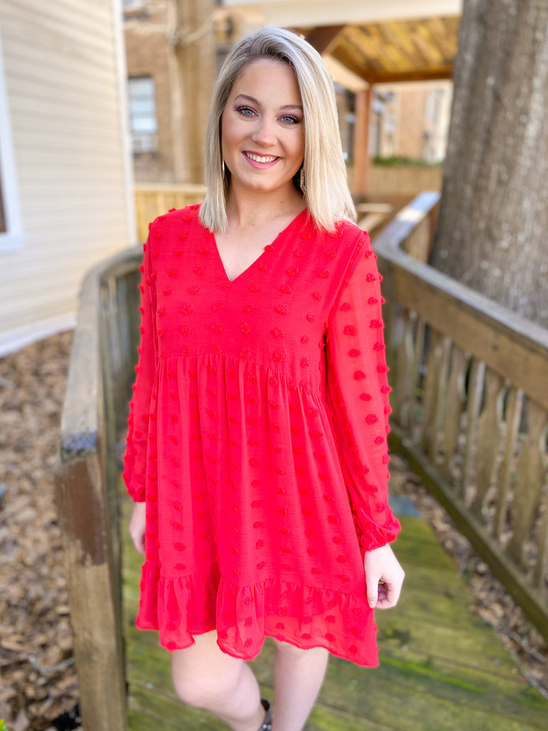 Swiss Dot Dress: Red