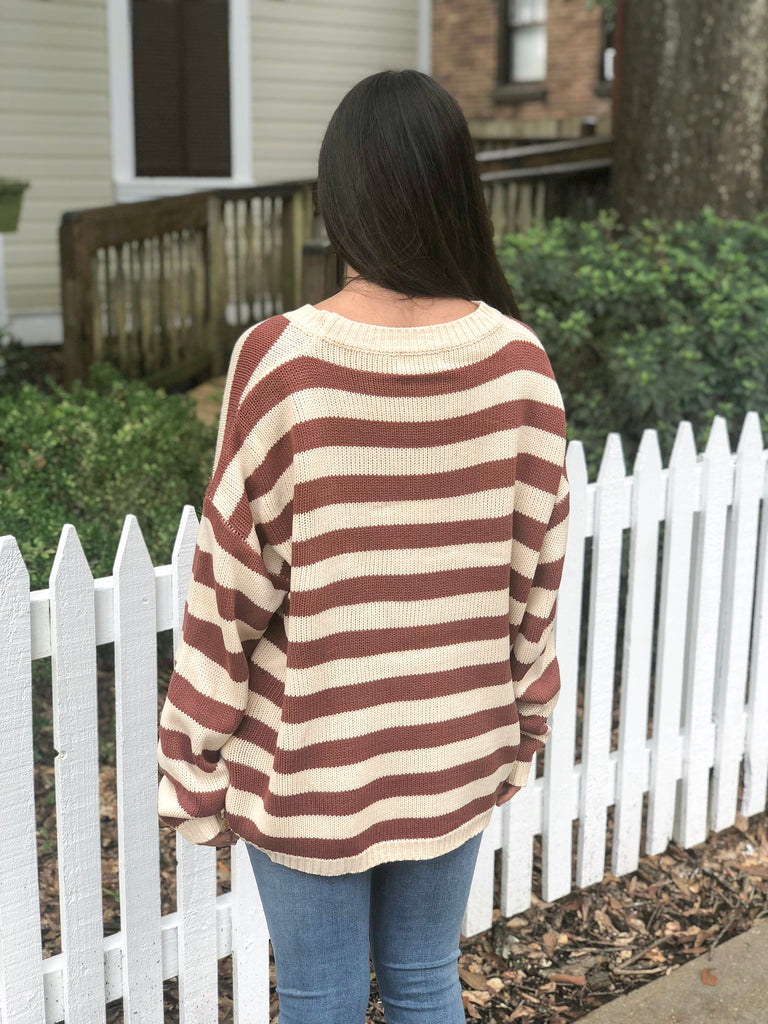 Striped Knit Pullover Sweater: Brick