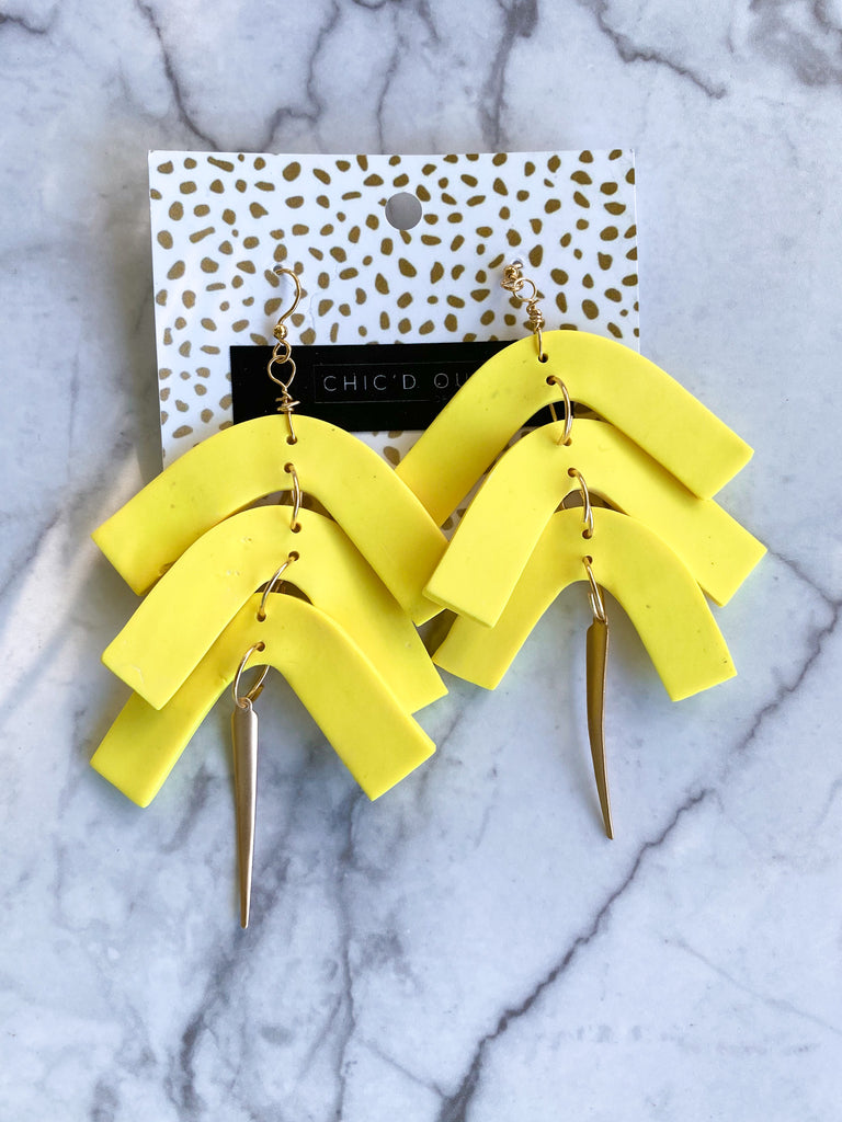 Chic'd Out Fan Earrings: Yellow