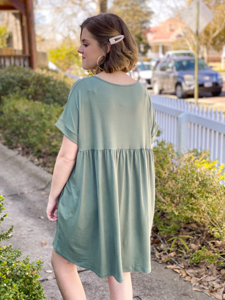 Solid Babydoll Dress: Army Green