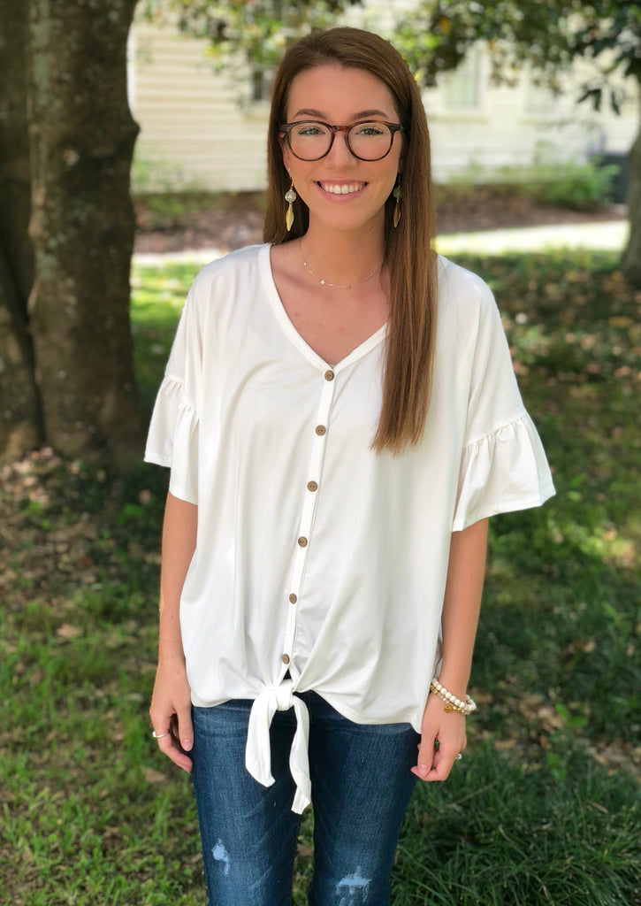 Ruffle Sleeve Tie Front Top: Ivory