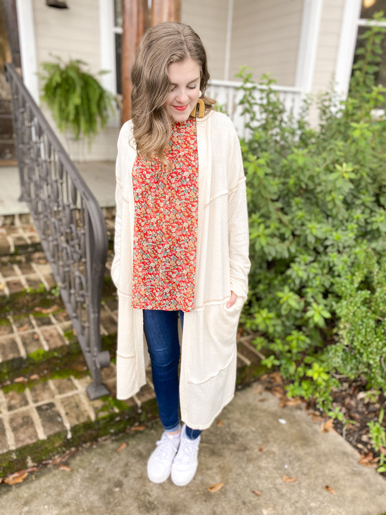 Knit Contrast Stitch Duster Cardigan