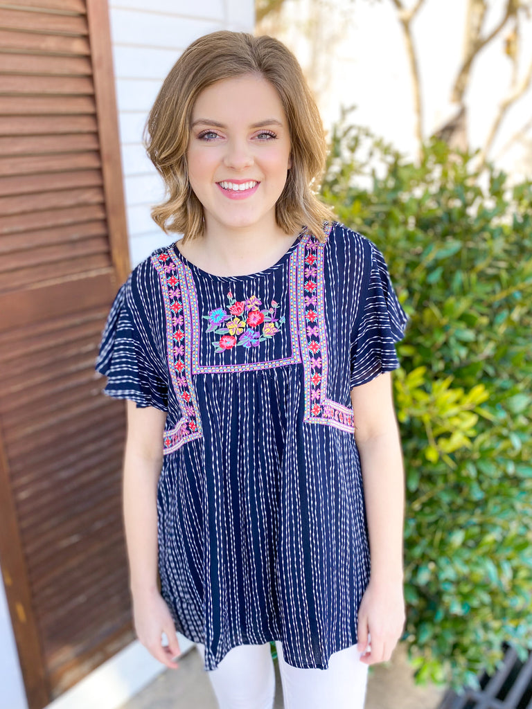Navy & White Striped Top with Colorful Embroidery