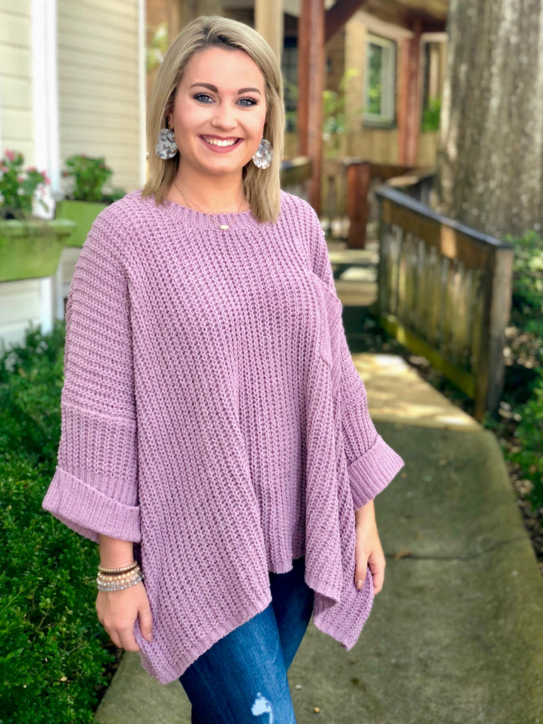 Oversized Thick Weave Sweater: Mauve