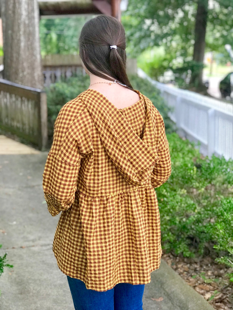 Plaid Button Up Tunic with Hood: Mustard