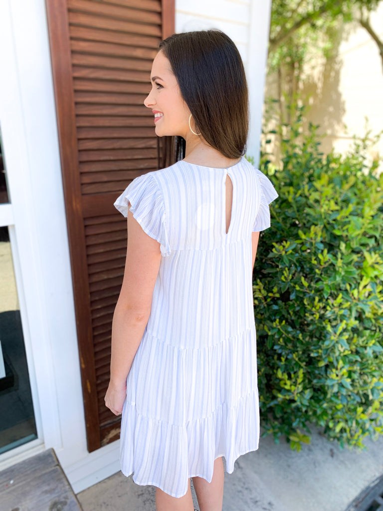 Ruffle Cap Sleeve Stripe Dress: Blue