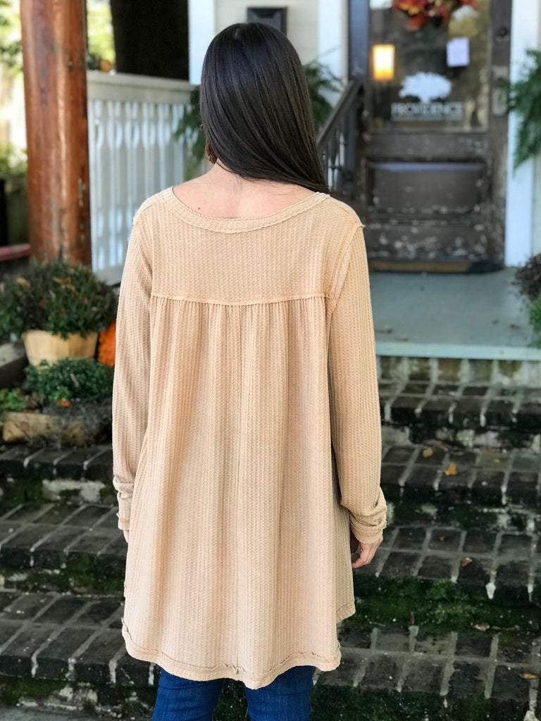 Thermal Weave Henley Tunic: Mustard