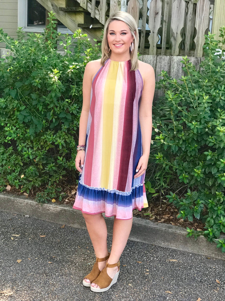 Multi Color Striped Dress with Ruffle Hem: Burgundy