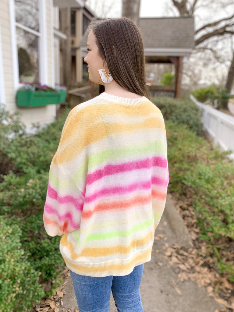 Tie Dye Puff Sleeve Sweater