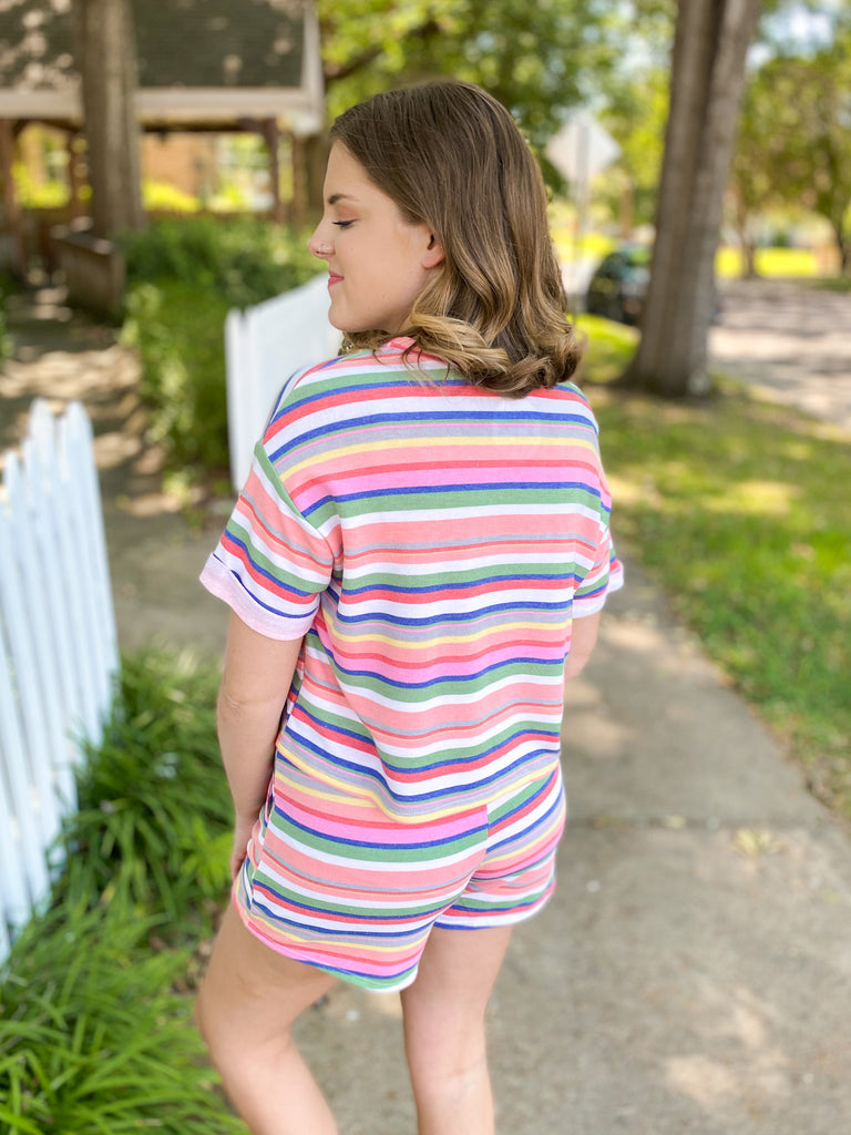 Rainbow Stripe Lounge Shorts